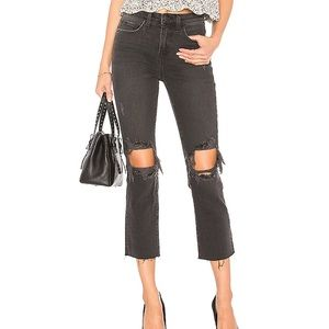NEW L'AGENCE Audrina Destructed Crop Straight Jean